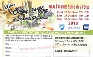 Invitation Salon des vins de Maîche 2018
